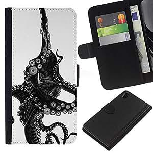 KLONGSHOP // Tirón de la caja Cartera de cuero con ranuras para tarjetas - Monstruo Negro Blanco Animal Mar - Sony Xperia Z2 D6502 //
