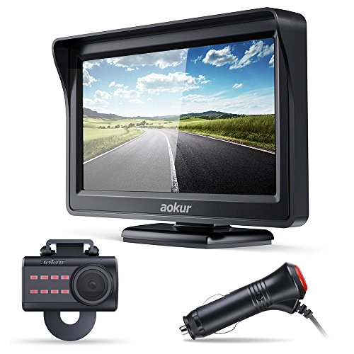 aokur Backup Camera with 4.3 inch TFT LCD Rearview Monitor, Waterproof Night Vision License Plate Starlight Cam, Auto Reverse Parking Assistance System for Car Vehicle Bus Truck Van Camper RVs ATV