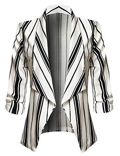 JSCEND Women's Casual Stretch 3/4 Sleeve Open Front Blazer Cardigan Jacket C-White S