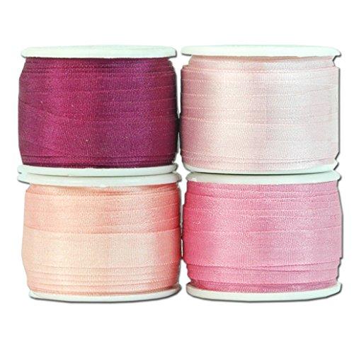 7mm Silk Ribbon Set - Four 10 meter spools - 44 yds - Pink Shades - Threadart