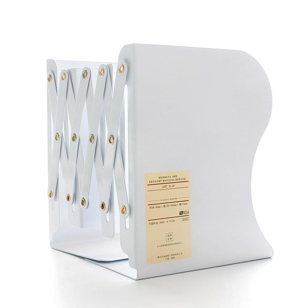 Qi Peng Bookshelf - Retractable Book Stand Folding Book Folder Book Block Three Columns Student Small Bookshelf (Color : White) by Qi Peng