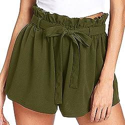 Farjing Women Casual Elastic Waist Hot Pants Summer Shorts Jersey Walking Shorts??�s Green
