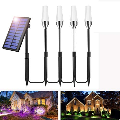 GreenClick Solar Pathway Lights Outdoor, 7 Color Changing Landscape Lighting Solar Powered Auto On Off Dusk to Dawn Waterproof Garden Path Lights for Yard Patio Walkway 4 Pack