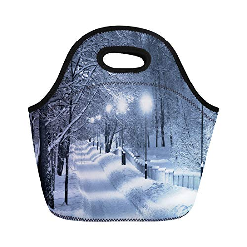 Semtomn Neoprene Lunch Tote Bag Blue Light Snowy Walkway Winter Scene Night Snow Cold Reusable Cooler Bags Insulated Thermal Picnic Handbag for Travel,School,Outdoors,Work