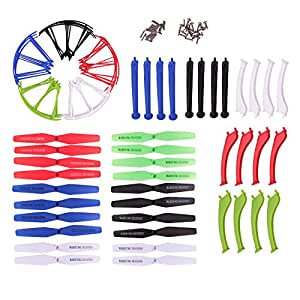 Teenitor® 5 Colors Syma X5HW X5HC New Upgrade Spare Parts 16pcs Main Propellers & 16pcs Protectors Blades Frame & 8pcs Landing Skid Included Screws for RC Quadcopter Toy
