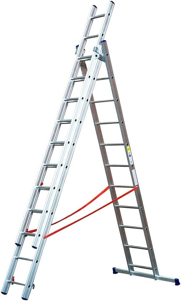 TB Davies - Escalera telescópica, aluminio, triple sección, ligera, fabricado en Italia, EN131: Amazon.es: Bricolaje y herramientas