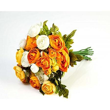 Fiori Gialli Mazzo.Mazzo Di Ranuncoli Artificiale Con 23 Fiori Giallo Arancione