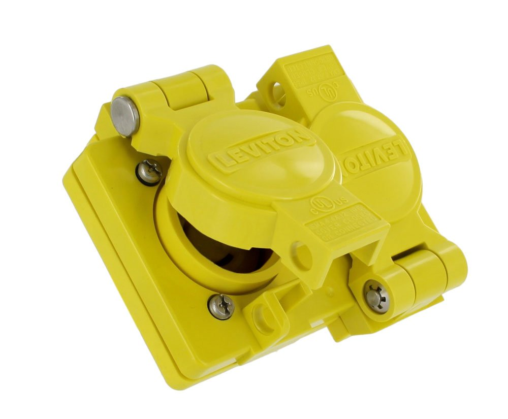 Leviton WTCVD Includes Mounting Screws, Industrial Grade, Wetguard Replacement Cover and Gasket for Duplex Outlets, Yellow