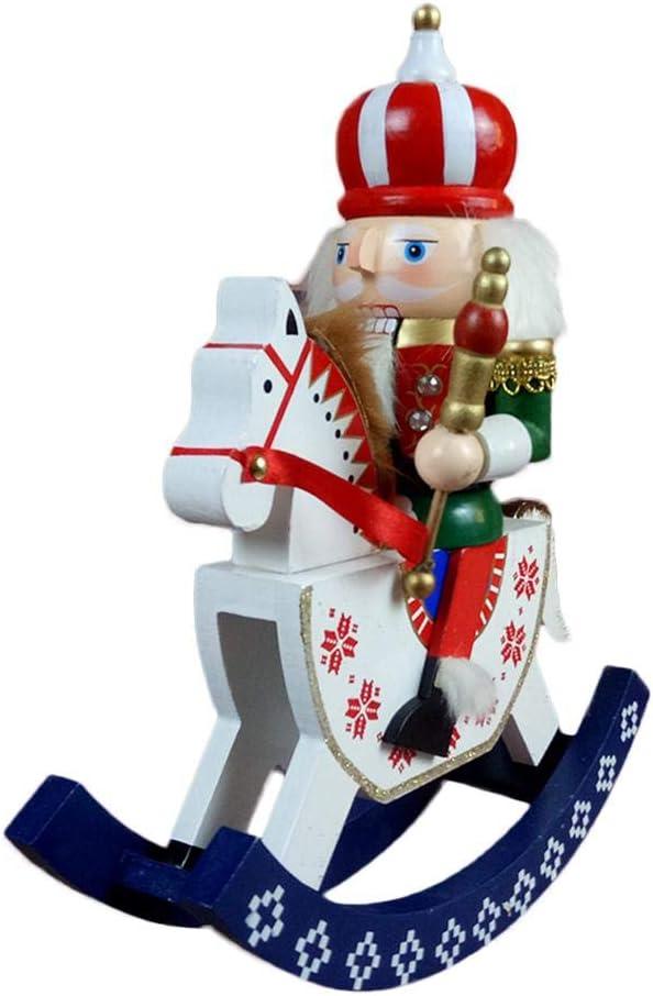 cuckoo-X 30cm Decoraciones navideñas Cascanueces Caballo mecedora Artesanías de madera Marioneta Novedad Adorno decorativo para la decoración del hogar Árbol Colgante Regalos feasible