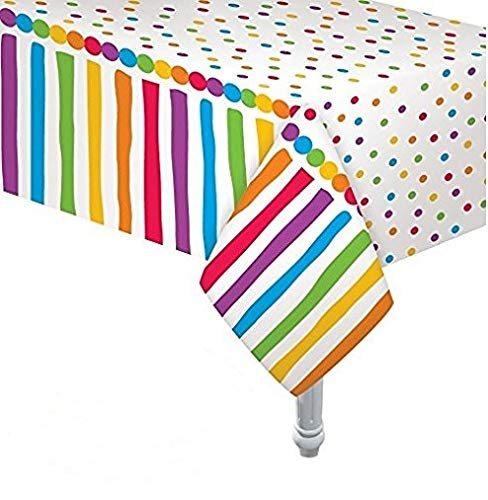 Oojami 4 Pack Polka Dot Plastic Tablecloth, 108 x 54 White dots (Rainbow) for $<!--$9.99-->