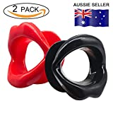 Facial Muscles Lips - 2 Pieces Silicone Rubber Anti-wrinkle Anti-aging Face Slimmer Mouth Muscle Tightener Face Exercise Exerciser Lips Trainer Face-lift (2 pcs, Red and Black)