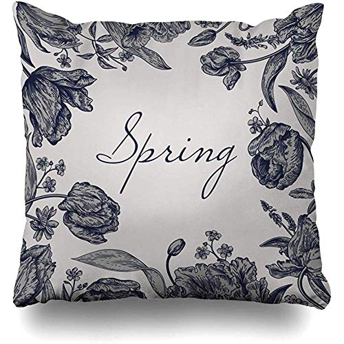 Throw Pillow Cover Celebration Bloom Spring Flowers Parrot Tulips Vintage Flora Blossom Botanical Bouquet Classic Design Home Decor Pillow Case Square Size 18 x 18 Inches Zippered Pillowcase ()