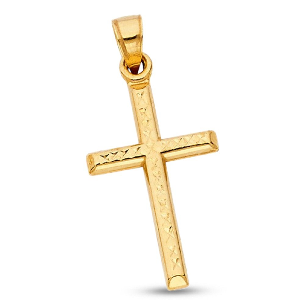 Plain Cross Charm Solid 14k Yellow Gold Pendant Diamond Cut Religious Style Genuine 25 x 16 mm