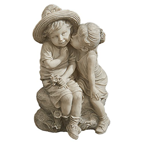 Childhood Garden Sculpture (Design Toscano Kissing Kids Boy and Girl Statue)