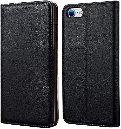 tomaxx Funda de teléfono móvil para iPhone SE 2020, funda de primera calidad, funda con tapa compatible con iPhone 7/8/SE 2020, funda plegable para smartphone, [imán] piel auténtica negra