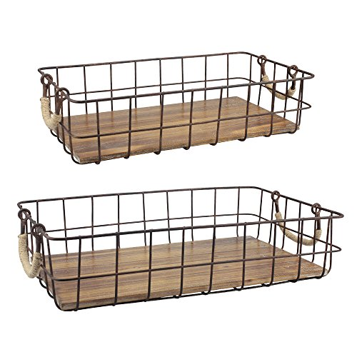 (Stonebriar Stackable 2pc Rectangle Metal Wire and Wood Basket Set with Rope Wrapped Handles, Rustic Decor for Home Storage, Decorative Serving Baskets for Weddings, Birthdays, and Holiday Parties)