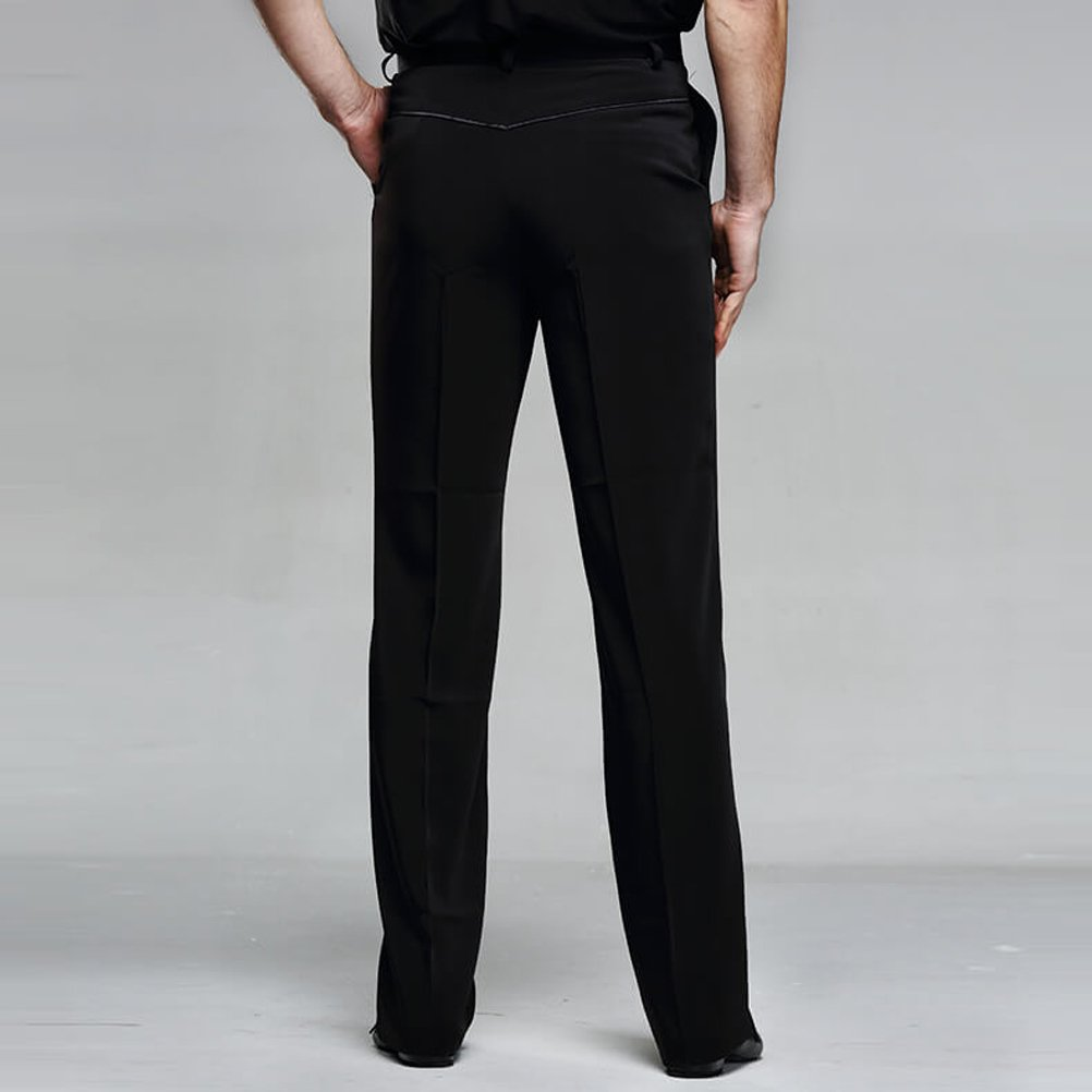 9743b3cac207c YILINFEIER Men Professional Black Straight with Pocket Belt Wide Latin  Modern Square Practice Dance Pants