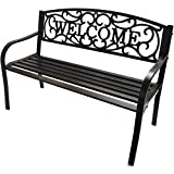 Outdoor Garden Welcome Bench, Traditional Style, Durable Iron Construction with Antique Gold Bronze Finish, Seats 2 to 3 People Comfortably