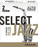 Rico Select Jazz Alto Sax Reeds, Filed, Strength 2 Strength Medium, 10-pack - RSF10ASX2M