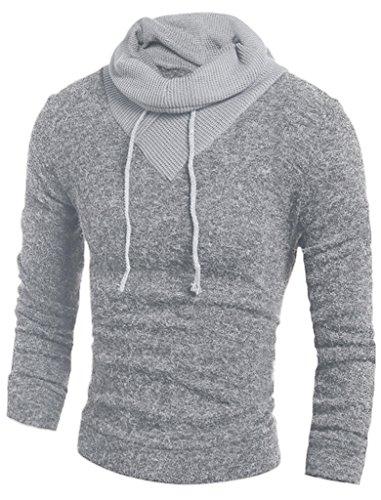 Retrograder Mens Fashion Long Sleeve Wool Pullover High Neck Hoodies Sweatshirts B203-Grey-S
