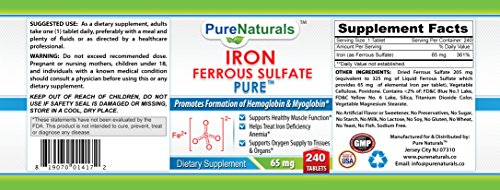 Pure Naturals Iron Ferrous Sulfate Tablets, 65 mg, 240 Count