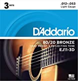 Best Acoustic Guitar Strings - D'Addario EJ11-3D 80/20 Bronze Acoustic Guitar Strings, 12-53 Review