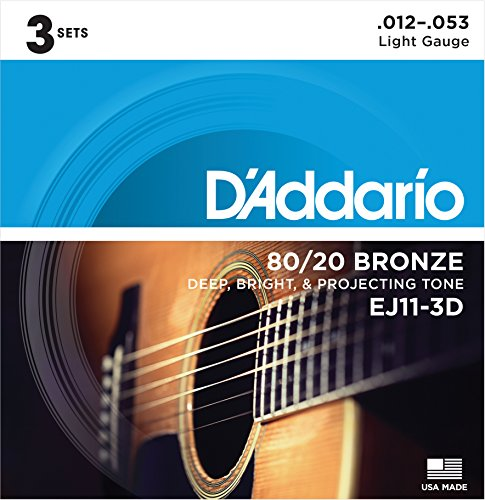 D'Addario EJ11-3D 80/20 Bronze Acoustic Guitar Strings, 12-53, 3 Sets, Light (Bronze Lite 12 String)