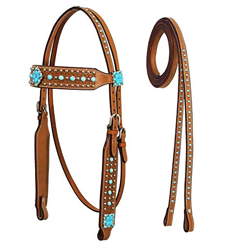 (Tahoe Tack Turquoise Collection Show Western Browband Headstall with Matching Split Reins (Full)