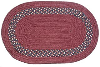 product image for Oval Braided Rug (5'x8'): Burgundy,- Burgundy, Navy & Camel Band