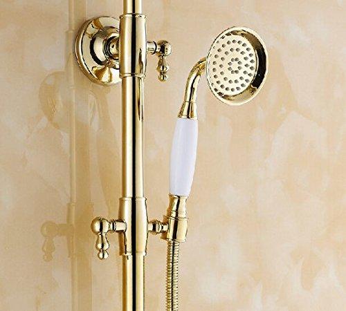 GOWE Fancy Luxury 8'' Rain Showerhead Bathroom Shower Faucet Set Single Handle with Handheld Shower Polished Gold by Gowe (Image #2)