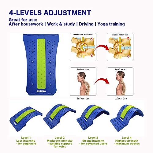 Greeno Lower Back Stretcher for Back Pain Relief, 4 Adjustment Multi Level Lumbar Stretcher, Lower Back Massager for Chair, Scoliosis Pain Relief