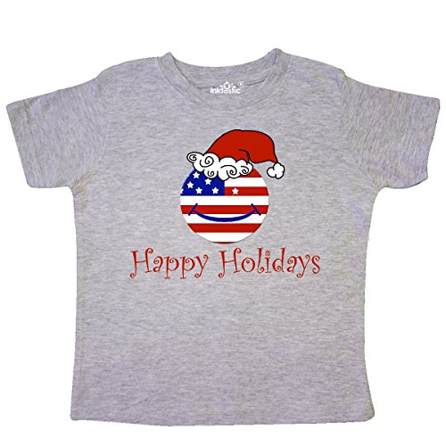 Inktastic Happy Holidays Americana Smiley Toddler T-Shirt 5/6 Heather Grey