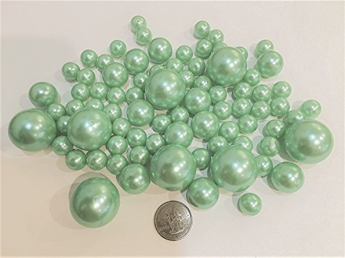 80 All Light Tiffany Blue, Mint Blue Pearls Jumbo and Assorted Sizes Value Pack Vase Fillers - NOT INCLUDING the Transparent Water Gels for Floating Pearls (Sold Separately) Jumbo Mint