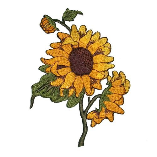 New Sun Flowers Embroidered Iron on Applique Patches