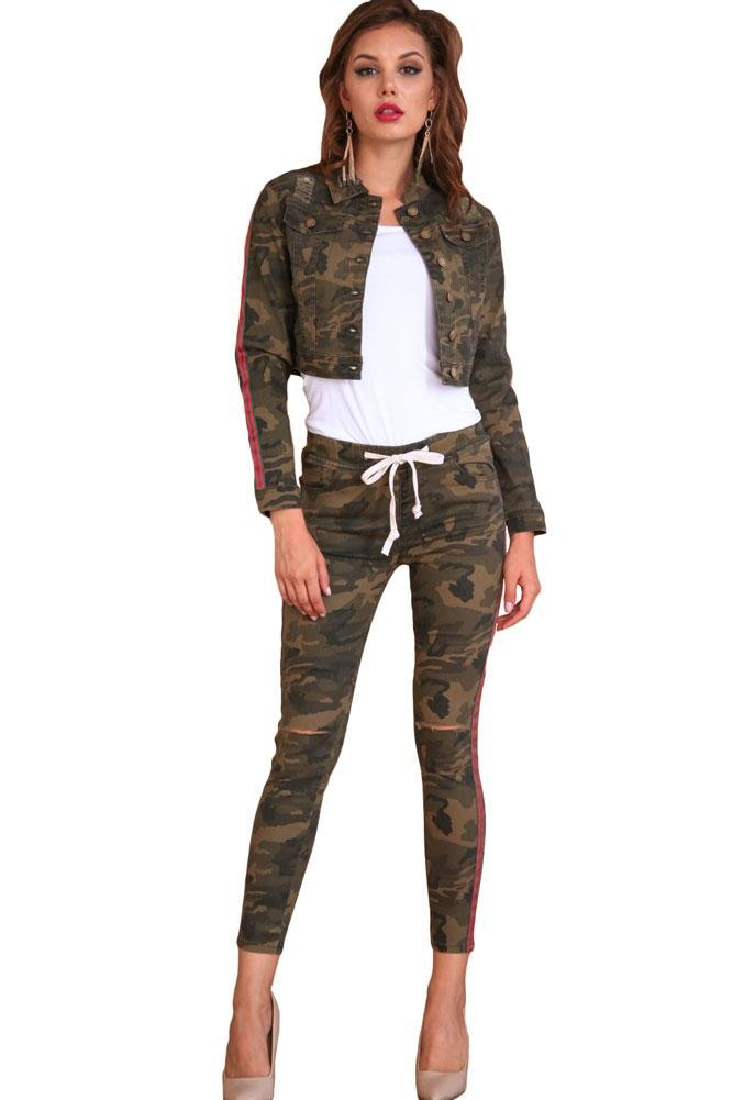 American Bazi G-Style USA Women's Ripped Knee Side Striped Band Jacket and Jogger Set RJJSET - Camo/Red/Green - Medium - JJ9G