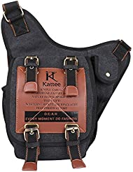Kattee Canvas Cow Leather Military Sling Backpack Cross Chest Shoulder Bag