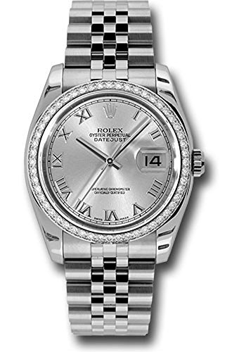 Rolex Datejust 36mm Stainless Steel Case, 18K White Gold Bezel Set With 52 Brilliant-Cut Diamonds, Silver Dial, Roman Numeral and Stainless Steel Jubilee Bracelet.