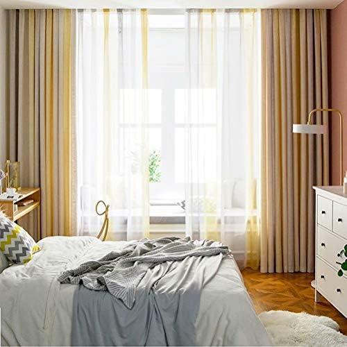 MacoHome Colorful Stripe Curtain Linen Decorative Patio Curtains Textured Privacy Blackout Window Panel Grommet Top