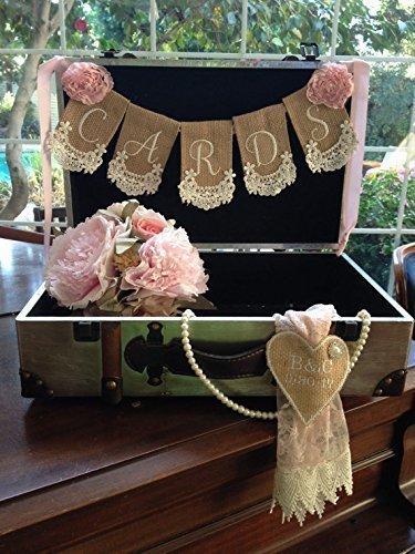 Burlap Lace Cards Suitcase Banner