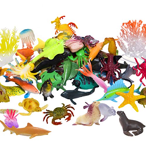 (Ocean Sea Animals Figures, 60 Pack Mini Plastic Deep Underwater Life Creatures Set, STEM Educational Shower Bath Toys Gift for Baby Toddler Cupcake Toppers Party Supplies with Turtle Octopus Shark)