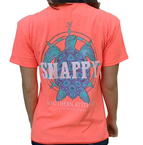 Southern Attitude Nautical Compass Snappy Turtle Heather Coral Short Sleeve Shirt (Large) (Ella Ivory Returns)