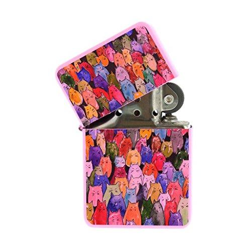 Pink Flip Top Refillable Windproof Lighter - Jelly Bean Kitt