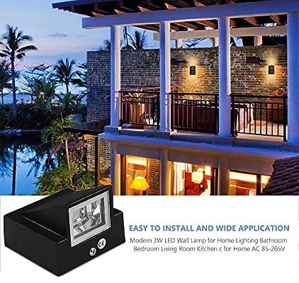 X&hui Aplique LED al Aire Libre, Impermeable, Patio, balcón, Exterior, Sala de Estar, Dormitorio, Pasillo, Blanco cálido, Aluminio, 3W: Amazon.es: Hogar
