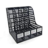 Funnylive Plastic 4 Compartments File Rack Paper Holder Desktop File Sorter Magazine Book Holder Organizer,Black