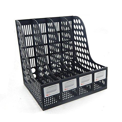 Funnylive Plastic 4 Compartments File Rack Paper Holder Desktop File Sorter Magazine Book Holder Organizer,Black