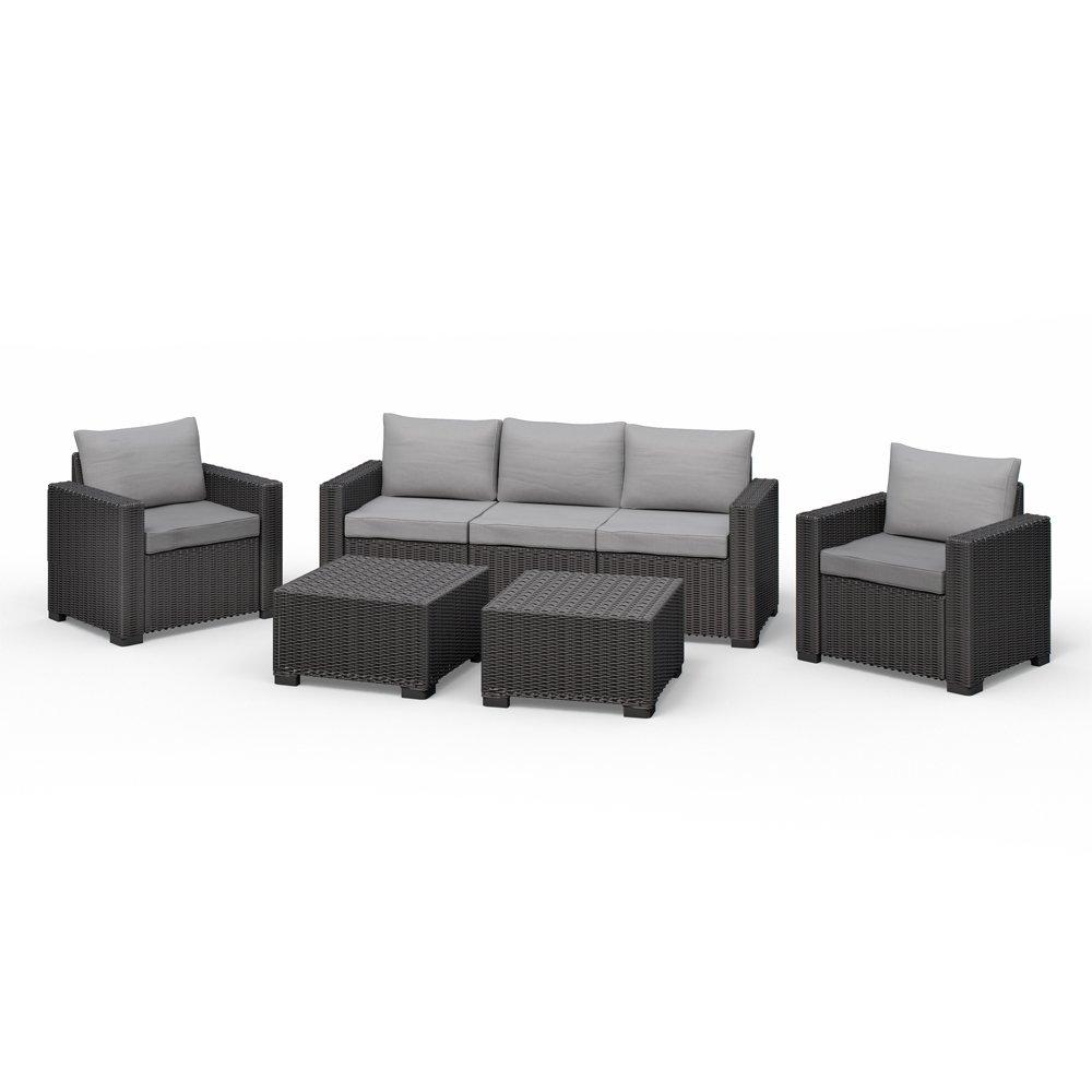 Amazon.de: Allibert California Lounge Set Polyrattan Gartenmöbel ...