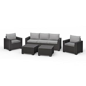 Amazon.de: Allibert California Lounge Set Polyrattan Gartenmöbel