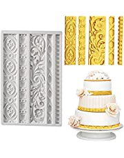 Baroque Fondant Molds Silicone - HADEEONG 1Pc Fondant Mold Scroll Relief Filigree Border Vintage Flower Lace Silicone Mold for Birthday Cake Candy Chocolate Sugarcraft Decoration