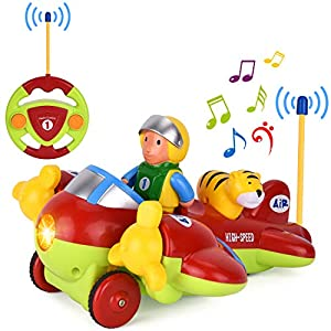 GotechoD Remote Control Car Cartoon RC Car Airplane with Music and Lights, Radio Control Toy for Baby Toddlers Kids and Children, Perfect for Holiday Birthday Presents(red)