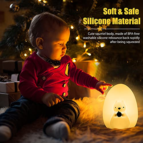 Squirrel Kids Night Light, Cute Silicone Baby Night Light with Touch Control, Squishy Portable Rechargeable Led Animal Nusery Lamp for Toddlers' Room, Kawaii Birthday Gifts for Boys Girls Teens